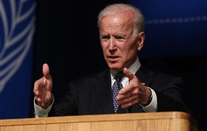 Former Vice President Joseph Biden speaks at UB in 2018. (Sharon Cantillon/Buffalo News)