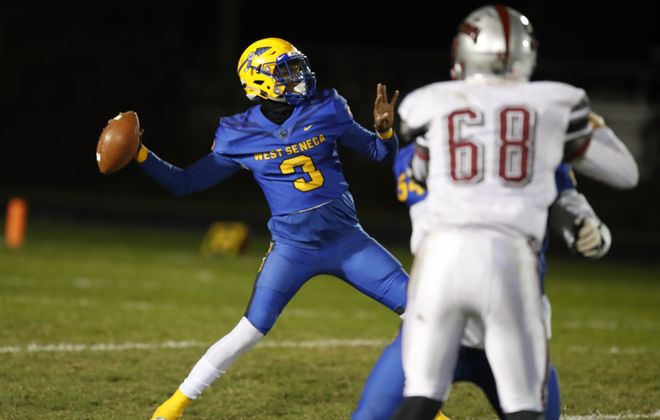 Maurice Robertson leads West Seneca West into the Section VI Class A final on Thursday at 8 p.m. against rival West Seneca East at New Era Field. (Harry Scull Jr./ Buffalo News)