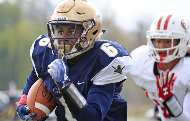 Canisius defender JT Boyland returns a  St. Francis interception during first half action at Stransky on Saturday, Oct. 20, 2018. (Harry Scull Jr./ Buffalo News)