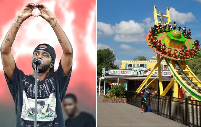 "6lack, performing in London, England, filmed ""Pretty Little Fears"" at several Buffalo-area locations, with J. Cole. Right is Fantasy Island on Grand Island Boulevard in Grand Island. (Getty Images; John Hickey/News file photo)"