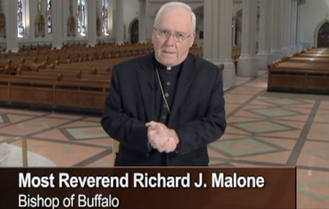 A screenshot of Buffalo Bishop Richard J. Malone in a Virtus training video. (Image provided to The Cincinnati Enquirer by the Archdiocese of Cincinnati)
