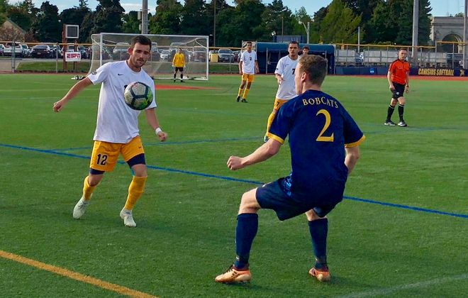 Canisius winger Troy Brady, pictured earlier in the season against Quinnipiac, scored twice in the Griffs' first MAAC win. (Ben Tsujimoto/News file photo)