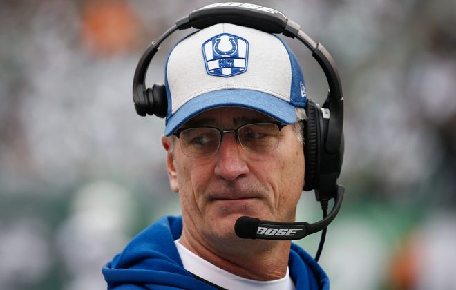 Indianapolis coach Frank Reich looks on against the New York Jets during the first quarter at MetLife Stadium on Oct. 14, 2018 in East Rutherford, New Jersey.  (Photo by Jeff Zelevansky/Getty Images)