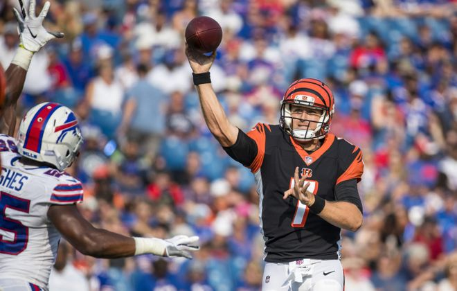 Matt Barkley passes the ball during the second quarter of a preseason game between Cincinnati Bengals and the Buffalo Bills. (Brett Carlsen/Getty Images)