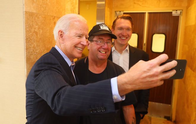 Former Vice President Joe Biden campaigns in the 27th Congressional District with Democrat Nate McMurray at the Olive Tree restaurant in Lancaster on Oct. 25, 2018. (John Hickey/News file photo)