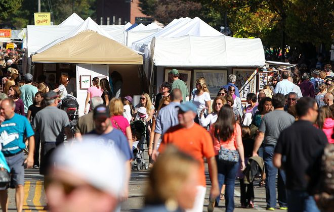 Crowds fill the streets for the annual Fall Festival in Ellicottville. (Mark Mulville/News file photo)