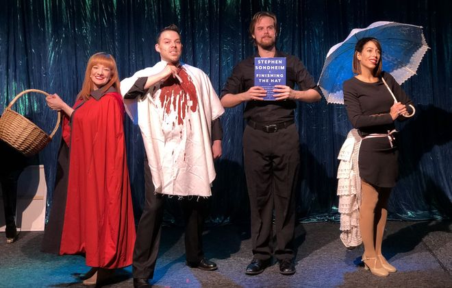 """Maria Droz, left, Marc Sacco, Dan Urtz and Nicole Marrale Cimato star in """"Forbidden Broadway's Greatest Hits."""" The musical revue is on stage at Premier Cabaret in MusicalFare Theatre through Nov. 4. (Photo by Michael Wachowiak)"""