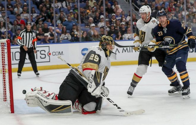 Vegas goalie Marc-Andre Fleury has been beaten early and often this season, like he was on this Jack Eichel goal Monday in KeyBank Center (James  P. McCoy/Buffalo News).