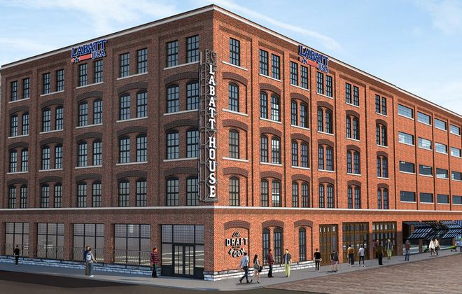 A rendering of the new Labatt House building, with the signage. (Photo courtesy of the Buffalo Preservation Board)