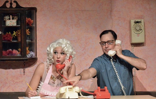 """Jenny McCabe and Matthew Mooney shine in their roles as Audrey and Seymour in O'Connell & Company's """"The Little Shop of Horrors."""" (Photo by Katherine Kenwell Citch)"""