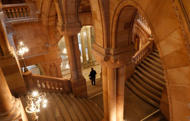 """A view of the """"Million Dollar Staircase"""" in the New York State Capitol in Albany, Tuesday, Jan. 12, 2016.  (Derek Gee/Buffalo News)"""