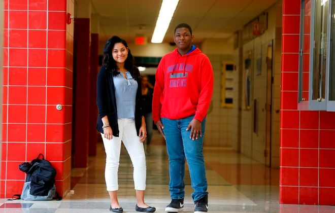 Niagara Falls High School students Mia Maye, left, and Adam Hamilton, right, were among students who lobbied the Board of Education and superintendent successfully for creation of a better sex education curriculum. (Mark Mulville/News file photo)