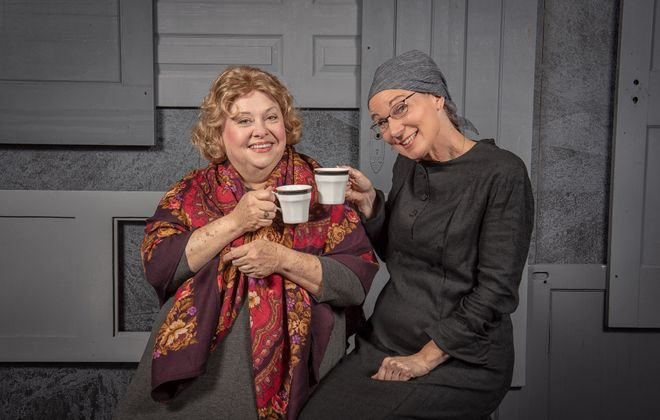 "Mary Kate O'Connell, left, and Lisa Ludwig are charming in ""The Strudel Lady,"" the first musical presented by Jewish Repertory Theatre. (Matt Weinberg Photography)"