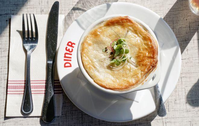 Just under Swan Street Diner's golden pot pie crust lies classic herb stuffing. (Dave Jarosz)