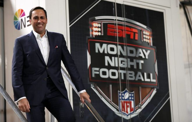 """Joe Tessitore from """"Monday Night Football"""" will call the Bills-Texans game on Saturday along with analyst Booger McFarland. (Allen Kee/ESPN Images)"""
