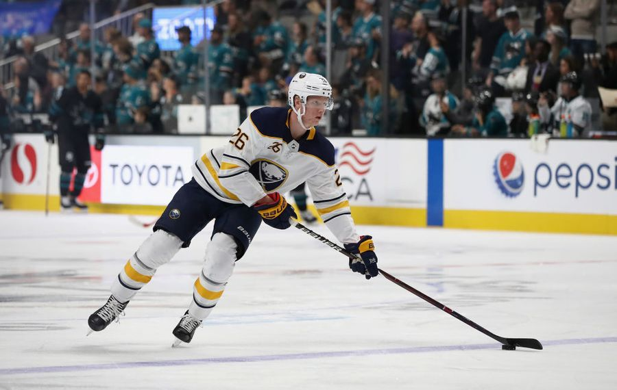 Rasmus Dahlin assisted on the Sabres' only goal Thursday in San Jose (Getty Images).