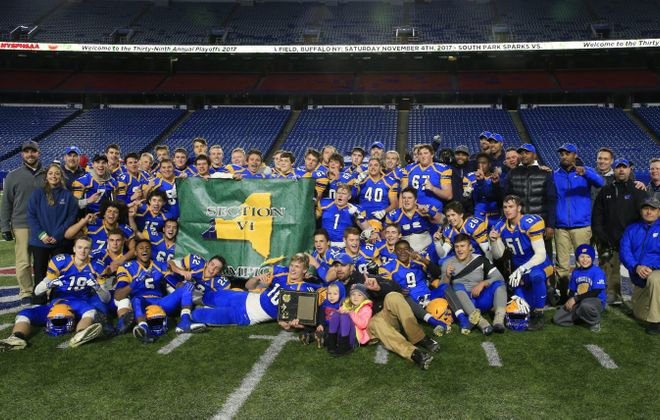 West Seneca West celebrates a victory over South Park in the Section VI Class A Championships at New Era Field on Nov. 4, 2017. (Harry Scull Jr./News file photo)