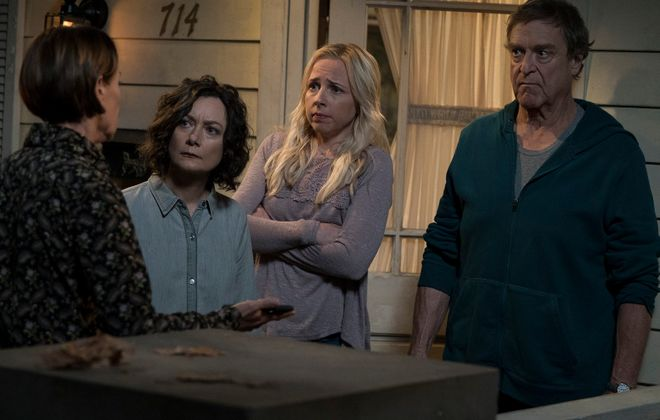 """Laurie Metcalf, Sara Gilbert, Lecy Goranson and John Goodman in the ABC series, """"The Conners."""" (Eric McCandless/ABC)"""