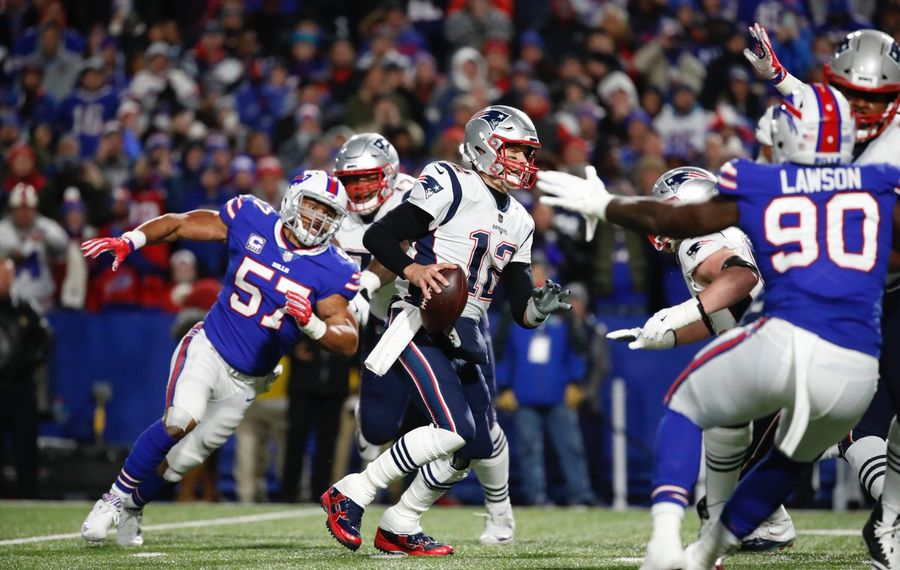 Lorenzo Alexander and the Buffalo Bills' defense put up a good fight against the Tom Brady-led Patriots on Monday, but it wasn't enough. (Harry Scull Jr./Buffalo News)