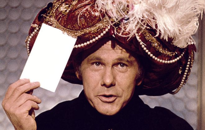 Johnny Carson as Carnac the Magnificent.