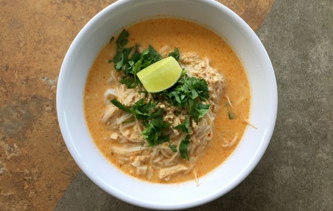 Khao puen, Laotian chicken coconut curry soup, is loaded with bean sprouts, at Gourmet Lao Foods. (Andrew Galarneau/Buffalo News)