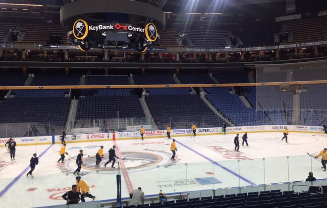 The Sabres' logo visible on the ice at KeyBank Center. The team picked that identity in 1970 after receiving 13,000 entries in a naming contest. (Mike Harrington/Buffalo News)