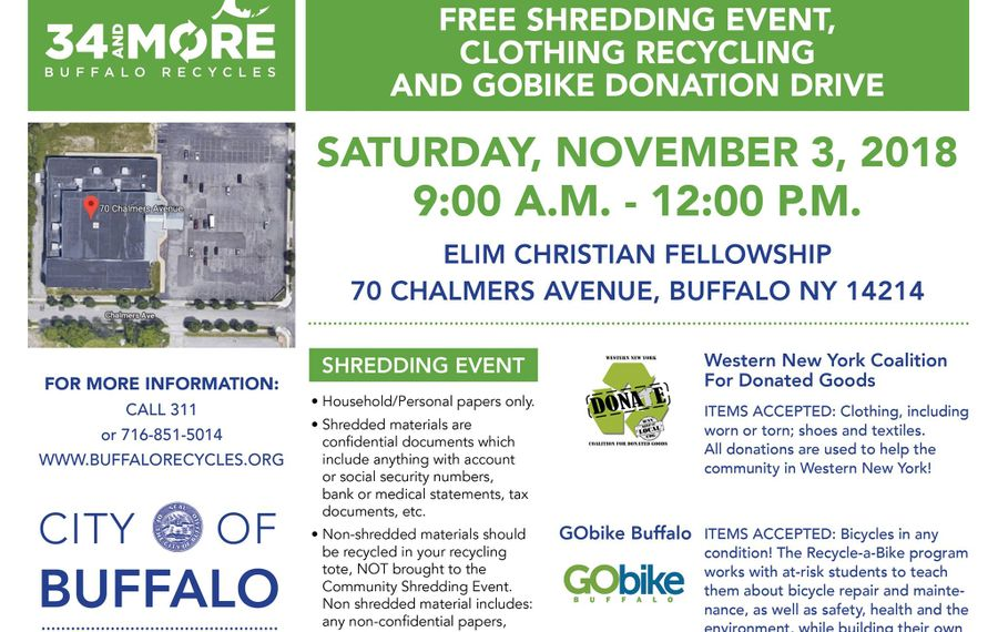 Discard personal papers, old clothes and broken bikes Buffalo event
