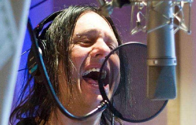 "Robby Takac in Buffalo's GCR Recording Studios tracking ""Dyin' Tonight."" (Photo courtesy Red Hill Movies)"