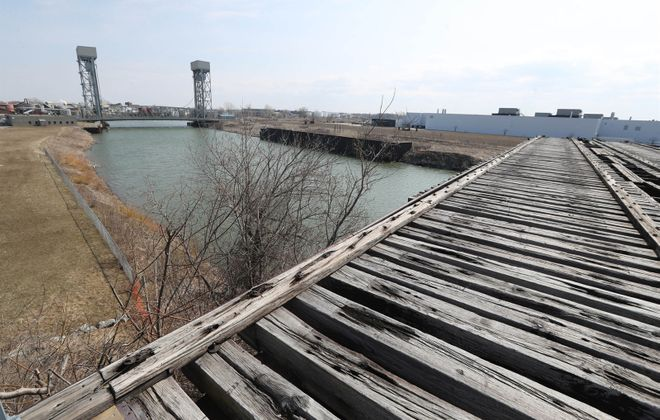 "The Western New York Land Conservancy announced a new name, ""The Riverline,"" for a proposed 1.5-mile  elevated linear trail that would run from Canalside to the half-bridge near the Tesla plant in South Buffalo.  (Sharon Cantillon/Buffalo News)"