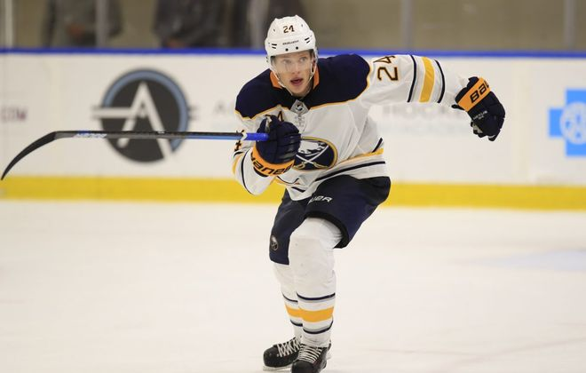 Buffalo Sabres prospect Lawrence Pilut  was among the leaders in ice time in the preseason. (Harry Scull Jr./ Buffalo News file photo)