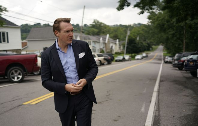 Democrat Nate McMurray, shown campaigning in Lewiston this summer, attracted  an army of volunteers with his rallies and social media savvy.  But he went through four campaign managers and apparently had a  fraught relationship with the Democratic Congressional Campaign Committee, the party fundraising arm that helps House candidates. (Derek Gee/Buffalo News file photo)