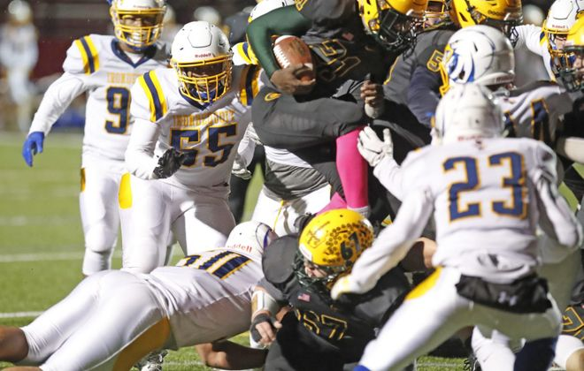 West Seneca East running back Devare Mathis scores the game-winning touchdown against Irondequoit during the second half of the Class A Far West Regionals. (Harry Scull Jr./News file photo)