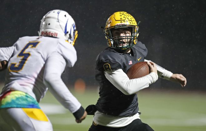West Seneca East's Zach Arnone makes an interception against Irondequoit during the fourth quarter of the Class A Far West Regional contest on Friday at Clarence High School. (Harry Scull Jr./Buffalo News)
