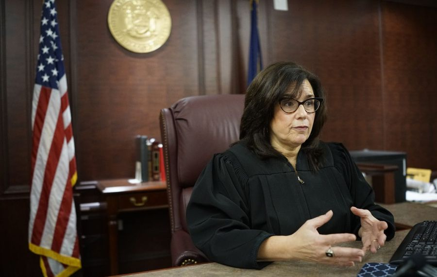 Family Court Judge Brenda Freedman on the bench. (Derek Gee/Buffalo News)