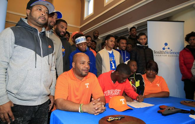 Davonte Gaines, a former Health Sciences Charter School basketball star now at Hargrave Military Academy, made his commitment to the University of Tennessee official. (Harry Scull Jr./ Buffalo News)