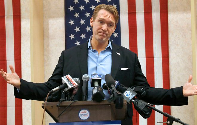 Democrat Nate McMurray displayed his frustration on Election Night 2018 over his 1,000-vote loss to incumbent Chris Collins, who was under indictment for insider trading and has since pleaded guilty and resigned his seat.  (Robert Kirkham/Buffalo News)