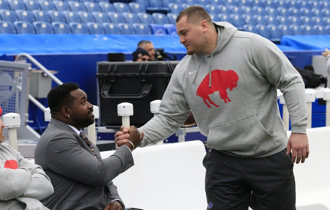 Buffalo Bills defensive lineman Harrison Phillips greets Jacksonville Jaguars' Marcell Dareus in pregame at New Era Field on Sunday, Nov. 25, 2018. (Harry Scull Jr./ Buffalo News)