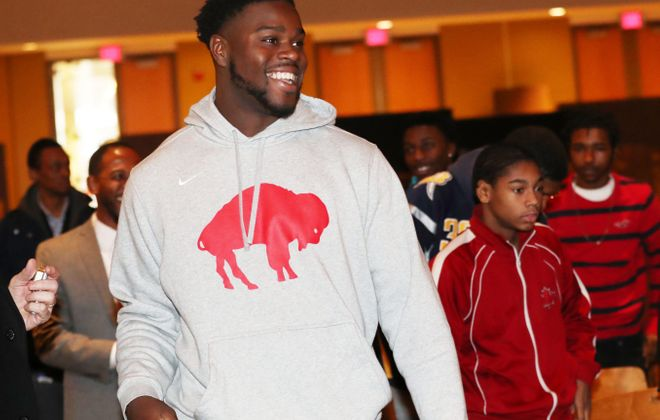 Shaq Lawson spoke to students at McKinley High School on Tuesday, Nov. 27, 2018. (Sharon Cantillon/Buffalo News)
