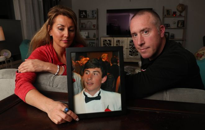 Kim and TJ Burch lost their son Nolan in 2014, after a hazing and binge-drinking incident at West Virginia University. (Sharon Cantillon/Buffalo News)