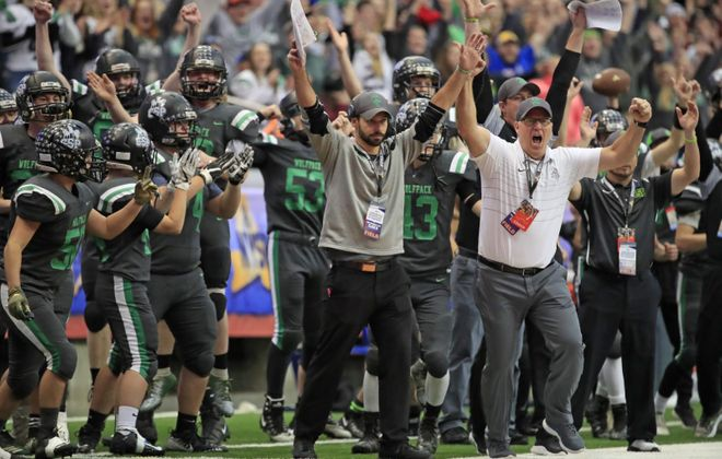 Clymer/Sherman/Panama coach Ty Harper celebrated last year's state title at the Carrier Dome, but to get back there CSP will have to win the Section VI title first. (Harry Scull Jr./ Buffalo News)