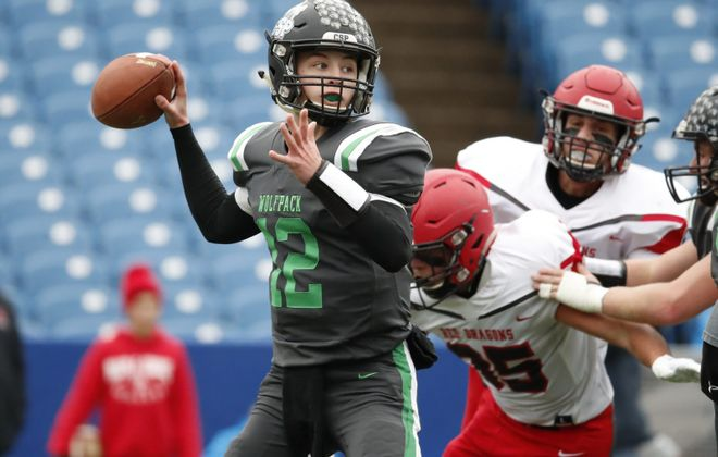 CSP quarterback Gerrit Hinsdale throws against Maple Grove during the first half of the Section VI Class D Championship on Nov. 2, 2018, at New Era Field. (Harry Scull Jr./Buffalo News)