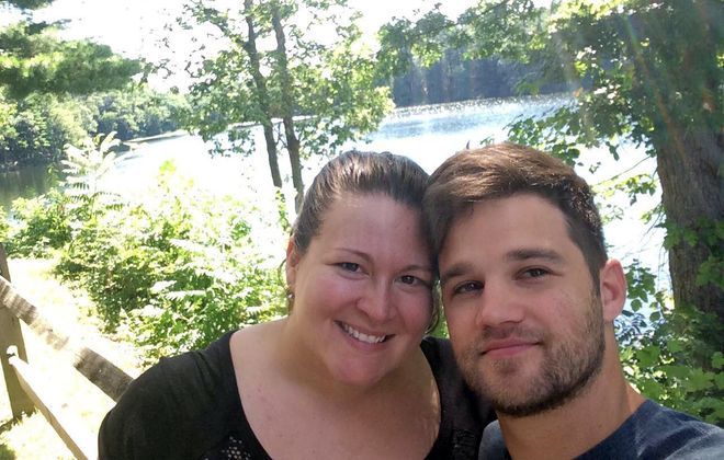"Cristina Anderson and her husband, Tim, enjoy the sights around the Pocono Mountains in Pa., where they went following their wedding for a ""mini-moon."" The couple took an abbreviated trip with the goal of getting out of debt."