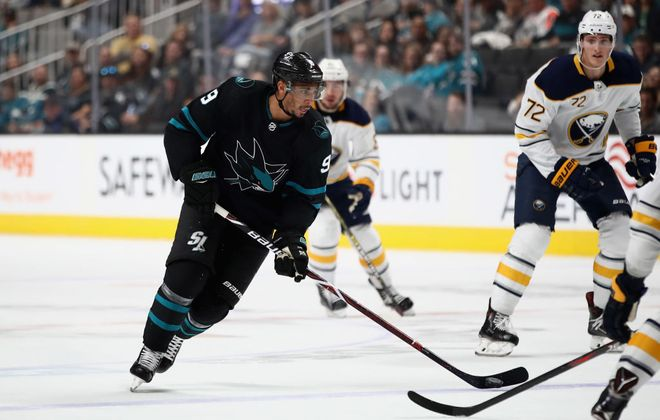 Evander Kane is back in Buffalo for the first time since being traded to the San Jose Sharks last February.  (Getty Images)