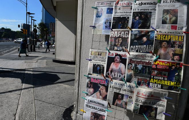 """Newspapers in Mexico City show pictures of drug kingpin Joaquin """"El Chapo"""" Guzmán on their front pages a day after he was recaptured during a military operation in Los Mochis, Sinaloa State. (ALFREDO ESTRELLA/AFP/Getty Images)"""