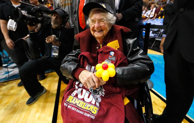 Sister Jean Dolores Schmidt celebrates with the Loyola Ramblers after the team defeated the Kansas State Wildcats during the 2018 NCAA basketball tournament.(Kevin C. Cox/Getty Images file photo)