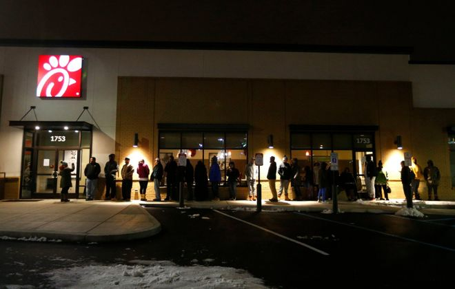 Customers line up in advance of the November 2018 opening of Western New York's first Chick-fil-A restaurant in Cheektowaga. (Mark Mulville/News file photo)