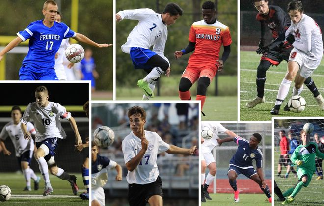 A collage of several players that will perform in the Exceptional Seniors Game. Clockwise, from top left: Matt Clifford, Val Mawi, Issak Sabtow, Owen Adamec, Max Shoemaker, Papouch Schmoyer, Gabe Mastrangelo and Kyle Hofschneider. (Photos courtesy Buffalo News photo staff)