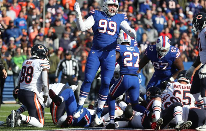 Buffalo Bills defensive tackle Harrison Phillips  celebrates a tackle in the first quarter at New Era Field. He and the Bills, along with Independent Health, will start a health and wellness challenge for the general public on Monday that includes a VIP Bills experience as the grand prize. (James P. McCoy/News file photo)