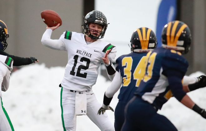 Gerrit Hinsdale passed for 364 yards and three touchdowns in leading Clymer/Sherman/Panama to victory over Tioga in the NYSPHSAA Class D semifinal at Union-Endicott High School. (Harry Scull Jr./Buffalo News)