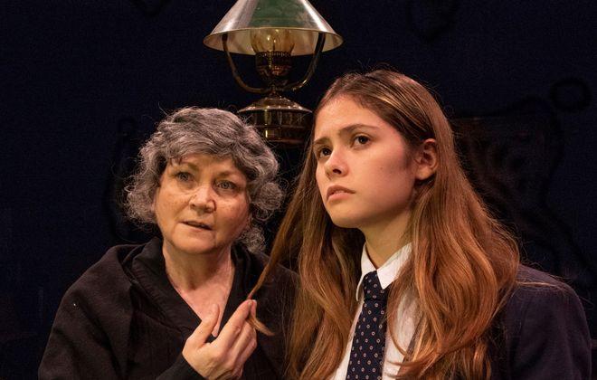 "Josephine Hogan as Nanna Glavin and Kiana Duggan-Haas as her granddaughter, Sive, in the Irish Classicl Theatre production of ""Sive."""